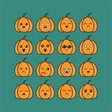 De pompoenen emoticon plaatsen ontwerpinspiratie royalty-vrije illustratie