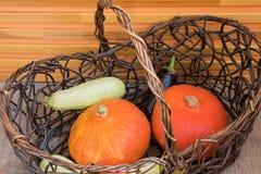 De pompoenen en de daling oogsten decoratieve groenten in een rieten mand voor Dankzeggingsdecoratie stock afbeelding