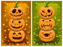 De pompoenen en de achtergrond van Halloween Stock Afbeeldingen