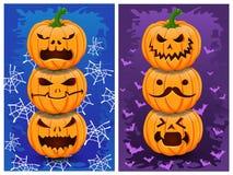 De pompoenen en de achtergrond van Halloween Stock Foto