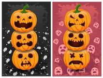 De pompoenen en de achtergrond van Halloween Stock Afbeelding