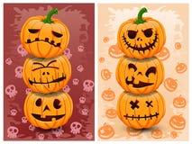 De pompoenen en de achtergrond van Halloween Stock Foto's