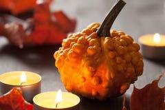 De pompoenen en de kaarsen van de herfsthalloween Stock Afbeelding