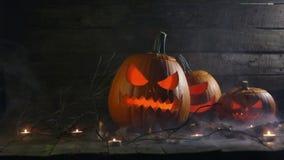 De pompoenen en de kaarsen van Halloween stock footage