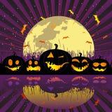 De pompoenen van Halloween onder de maan royalty-vrije illustratie