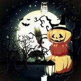 De Pompoenen van Halloween onder het maanlicht Stock Fotografie