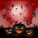 De Pompoenen van Halloween onder het maanlicht royalty-vrije stock foto