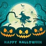 De Pompoenen van Halloween onder het maanlicht vector illustratie