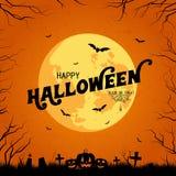 De Pompoenen van Halloween onder het maanlicht stock illustratie