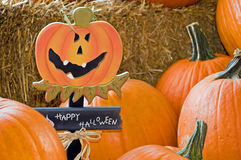 De pompoenen van Halloween op hooi Stock Foto