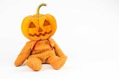 De pompoenen van Halloween op witte achtergrond Stock Afbeelding
