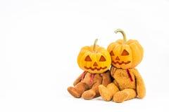De pompoenen van Halloween op witte achtergrond Stock Foto