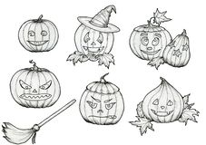 De pompoenen van tekeningshalloween met hoed, bezem, glimlachen en enge gezichten vector illustratie