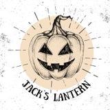 De pompoenjack ` s van Halloween hand getrokken Lantaarn vectorillustratie stock illustratie