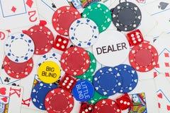 De pookspaanders, dobbelen en speelkaarten Royalty-vrije Stock Foto