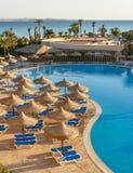 De pool, strandparaplu's en het Rode Overzees in Egypte Stock Fotografie