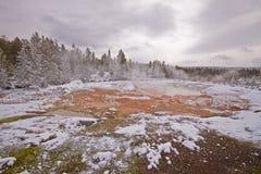 De pool van de modder in de winter, yellowstone royalty-vrije stock foto's
