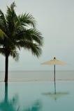 De pool van de palmparaplu en het overzees Royalty-vrije Stock Foto