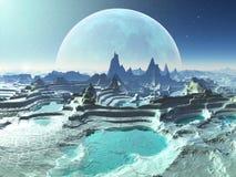 De Pools van de rots op Maanbeschenen Vreemde Planeet Stock Afbeeldingen