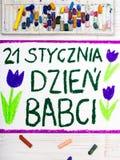 De Poolse kaart van de Grootmoedersdag met woorden: Grootmoeder` s Dag vector illustratie