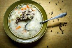 In de Poolse keuken, traditionele Poolse keuken, soep van de voorbereidings de smakelijke komkommer Royalty-vrije Stock Foto's