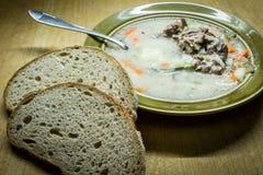 In de Poolse keuken, traditionele Poolse keuken, soep van de voorbereidings de smakelijke komkommer stock afbeeldingen