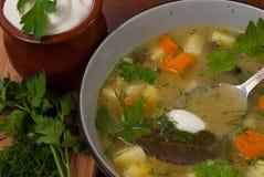 In de Poolse keuken, traditionele Poolse keuken, soep van de voorbereidings de smakelijke komkommer Royalty-vrije Stock Afbeelding
