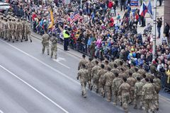 Polish soldiers marching on army parade on May 3, 2019 in Warsaw, Poland
