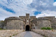 De poort d'Amboise in Rhodos, Griekenland Royalty-vrije Stock Afbeeldingen