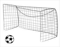 De poort en de bal van het voetbal Stock Afbeeldingen
