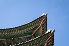 De Poort Roofline van Gwanghwamun in Seoel, Zuid-Korea Stock Foto's
