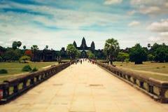 De poort van Angkorwat Stock Afbeeldingen