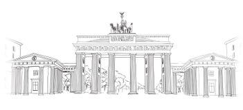 De poort van Brandenburg in Berlijn. De hand getrokken illustratie van de potloodschets. Brandenburgerpiek in Berlijn, Duitsland Stock Foto