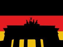 De poort van Brandenburg met vlag royalty-vrije illustratie