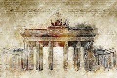 De poort van Brandenburg in moderne en abstracte wijnoogst ziet eruit Stock Fotografie