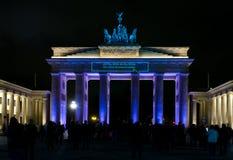 De Poort van Brandenburg. Nacht. Stock Foto's