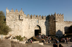 De poort van Damascus, Jeruzalem royalty-vrije stock foto's