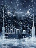 De poort van de begraafplaats met sneeuw vector illustratie