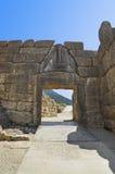 De Poort van de leeuw in Mycenae, Griekenland stock foto