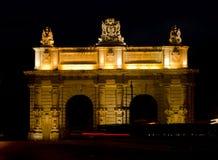De Poort van Floriana bij nacht - Malta Stock Afbeelding
