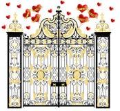De poort van het Kensingtonpaleis met harten, huis van hertog en hertogin van Cambridge, koninklijke liefde, valentijnskaartendag Stock Foto's