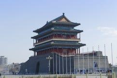 De Poort van Qianmenzhengyangmen van de Zenitzon in historische de stadsmuur van Peking Stock Afbeeldingen