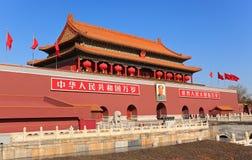 De Poort van Tiananmen die met rode lantaarns wordt verfraaid Stock Foto