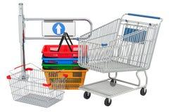 De poort van de winkelingang met boodschappenwagentje en manden het 3d teruggeven royalty-vrije illustratie