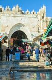 De poorten van Damascus in Jeruzalem Royalty-vrije Stock Foto's