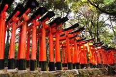 De poorten van Torii van het Heiligdom van Fushimi Inari Taisha Stock Fotografie