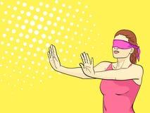 De pop-artachtergrond is oranje Een retro jong meisje speelt huid - en - zoekt, zijn haar ogen gebonden, uitgestrekte wapens E vector illustratie