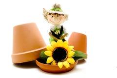 De pop en de zonnebloem van het stro Stock Foto's