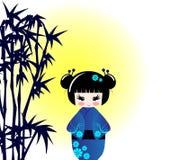 De pop en het bamboe van Kokeshi Royalty-vrije Stock Afbeeldingen