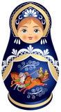 De pop van Matryoshka met Russische Troïka Stock Afbeeldingen